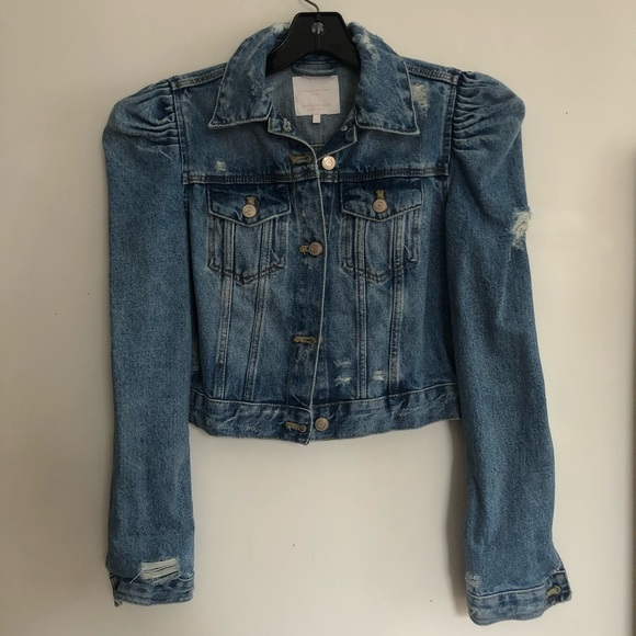aa127b7f874 ZARA puff sleeve cropped denim jacket